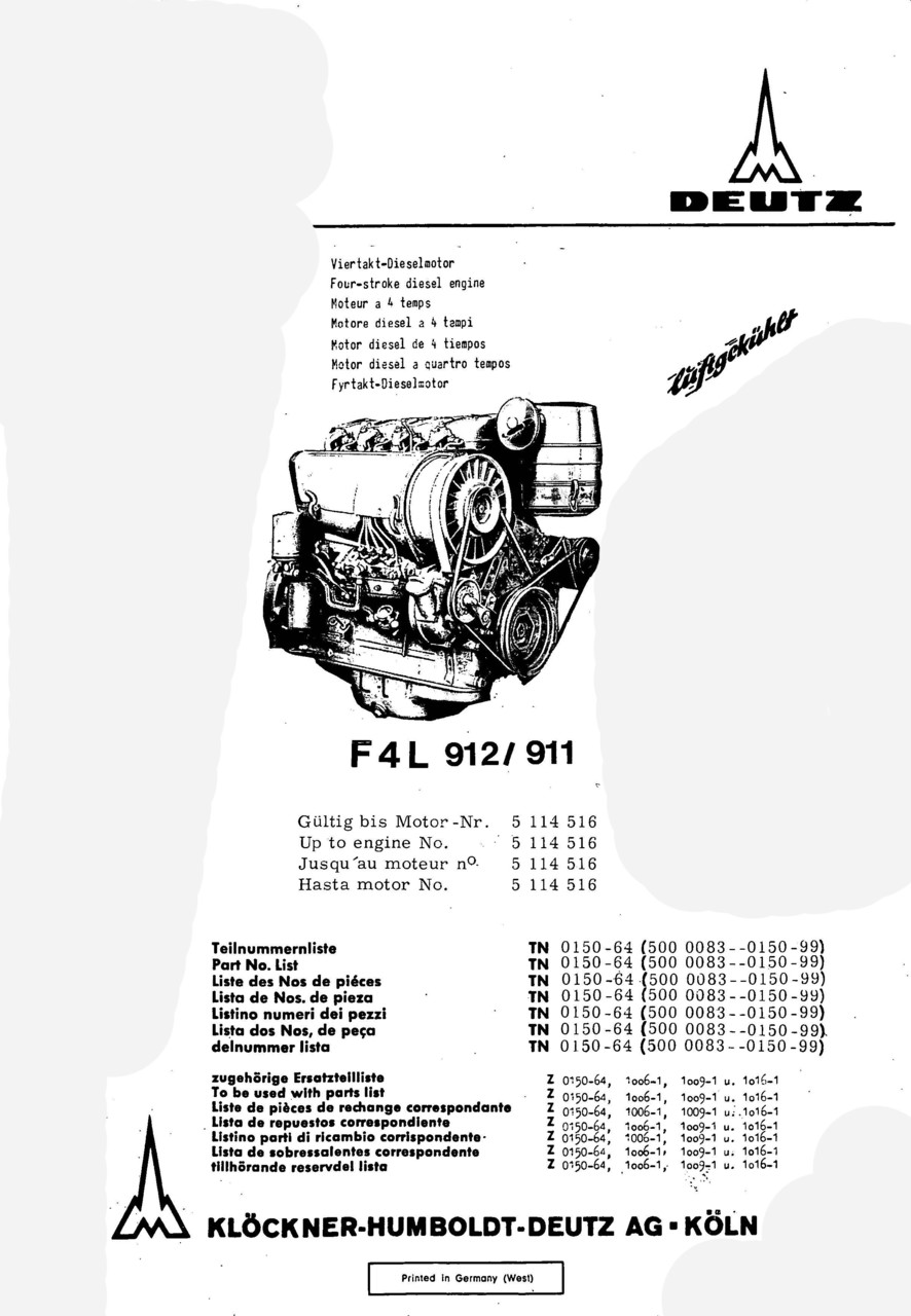 F4 L 912-911 - Ersatzteilliste / Spare parts catalogue / Catalogue de  pièces de