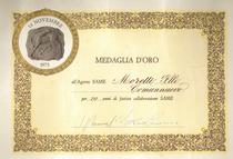 Medaglia d'oro per i 20 anni di collaborazione SAME - diploma