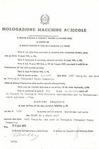 Atto di omologazione della trattrice SAME Drago DT e Drago DT/1