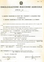 Atto di omologazione della trattrice SAME Centauro 60 e Centauro 60/1