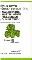 Intrac 6.30-6.60 Turbo / Techn daten für den service / Anzugswerte / Einstellwerte / Füllmengen / Ölqualitäten