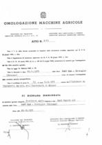 Atto di omologazione della trattrice SAME Falcon C/N