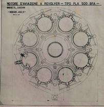 Motore d'aviazione a revolver - Tipo PLA 500 BFA - Vista anteriore Disegno
