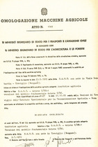 Atto di omologazione della trattrice SAME Ariete T DT/1