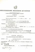 Atto di omologazione della trattrice SAME Drago e Drago/1