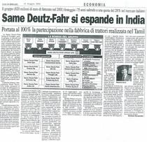 SAME Deutz- Fahr si espande in INDIA