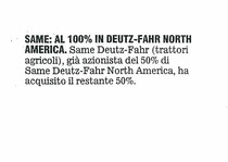 SAME: al 100& in Deutz-Fahr North America
