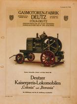 """[Deutz] catalogo relativo alla locomobile """"Colonia"""" con motore modello MO"""