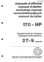 170 HP - Supplement fot tractors equipped with gearbox 27-9 speeds - Workshop manual