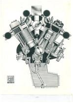 Trattore SAME Samecar Elefante - Vista frontale del motore a V - Fotografia pubblicitaria