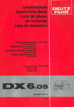 DX 6.05 - Ersatzteilliste gültig ab Traktor Nr. 7448 0001 Normalausführung - Nr. 7449 0001 Allradausführung / Spare parts book effective from tractor No. 7448 0001 standard version - No. 7449 0001 version 4 WD / Liste de pièces de rechange valable à partir du tractor No. 7448 0001 version normale - No. 7449 0001 version 4 RM / Lista de repuestos válida a partir tractor No. 7448 0001 version 2 RM - No. 7449 0001 version 4 RM