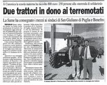 Due trattori in dono ai terremotati