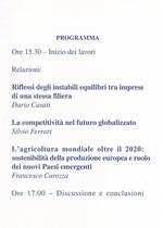 CAROZZA Francesco, L'agricoltura mondiale oltre il 2020: sostenibilità della produzione europea e ruolo dei nuovi Paesi protagonisti, Firenze, S.n., 2011
