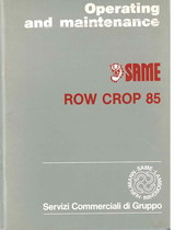 ROW CROP 85 - Operating and maintenance