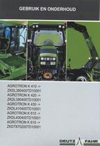 AGROTRON K 410 -> ZKDL380400TD10001 - AGROTRON K 420 -> ZKDL390400TD10001 - AGROTRON K 430 -> ZKDL410400TD10001 - AGROTRON K 610 -> ZKDL400400TD10001 - AGROTRON K 610 -> ZKDT670200TD10001 - Gebruik en onderhoud