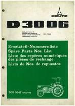 D 3006 - Ersatzteil-Nummerliste / Spare Parts - Nos. List / Liste de Repéres Numerique de Rechange / Lista de Nos. De Repuestos