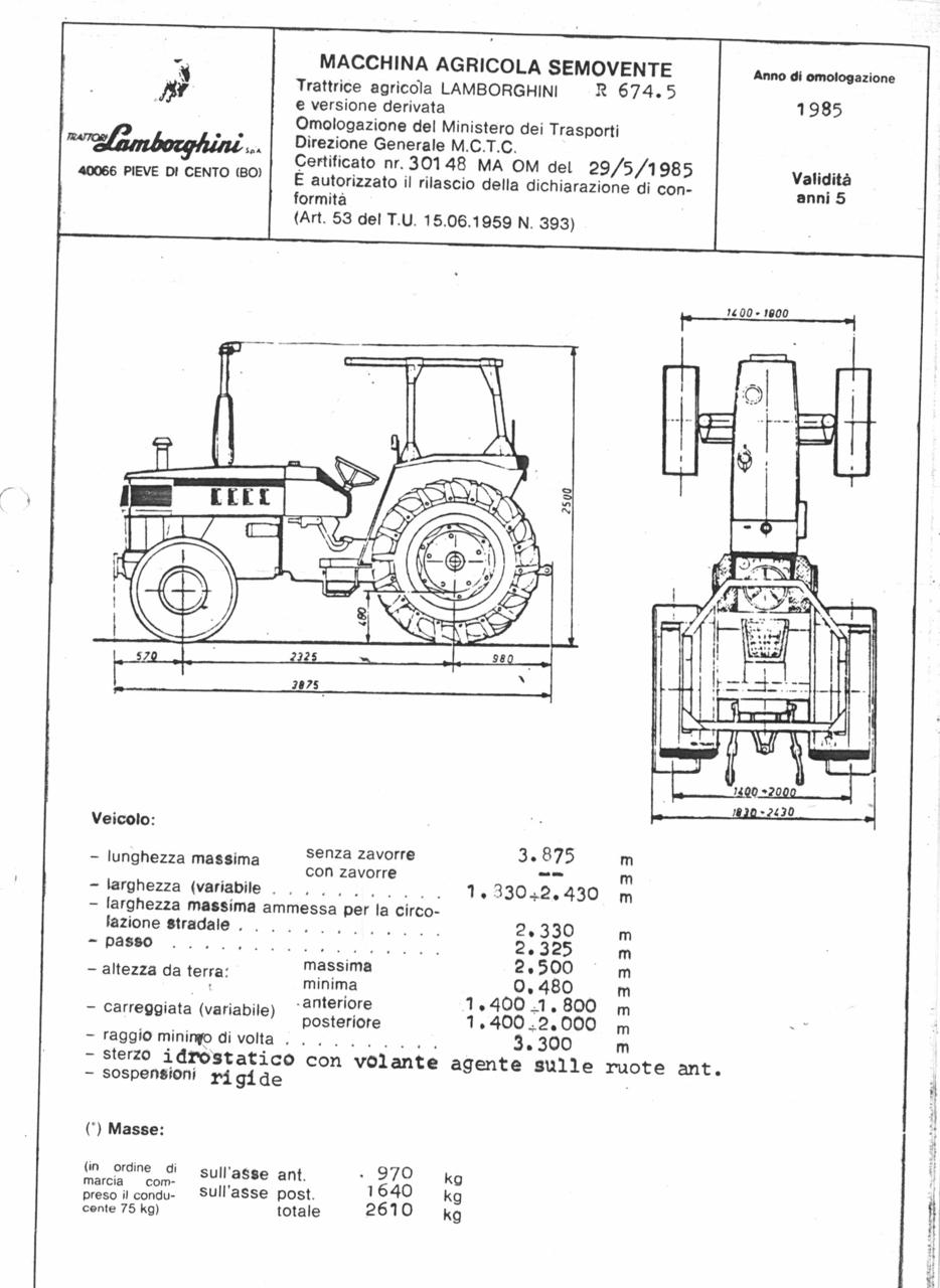 Sdf Archivio Storico E Museo Altezza Engine Diagram Atto Di Omologazione Della Trattrice Lamborghini R 6745