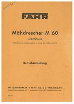 FAHR M 60 1202 Madrescher - Betriebsanleitung