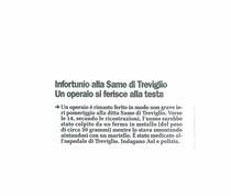 Infortunio alla SAME di Treviglio. Un operaio si ferisce alla testa