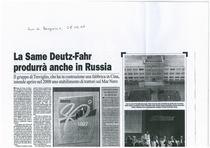 La SAME Deutz-Fahr produrrà anche in Russia