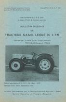 Bulletin d'essais de tracteur SAME Leone 75 4RM