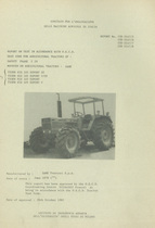 Report test of safety frame SAME T 29 mounted on agricultural tractors SAME Tiger Six 105 Export DT, SAME Tiger Six 105 Export V DT, SAME Tiger Six 105 Export and SAME Tiger Six 105 Export V