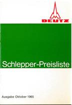Deutz / Schlepper / Preisliste / Ausgabe Oktober 1965