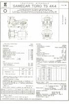 Atto di omologazione del trattore stradale SAME Samecar Toro TS 4x4