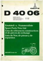 D 4006 - Ersatzteil-Nummerliste / Spare Parts - Nos. List / Liste de Repéres Numerique de Rechange / Lista de Nos. De Repuestos