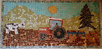 [SAME] Mosaico raffigurante un trattore Same al lavoro in campo