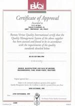BVQI - Certificato di conformità ISO 9001 a SLH Spa da National Accreditation of Certification Bodies