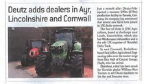 Deutz adds dealers in Ayr, Lincolnshire and Cornwall