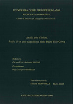 PREVITALI Daniele, Analisi delle criticità - Studio di un caso aziendale: la Same Deutz - Fahr Group, Bergamo, S.n., 2000