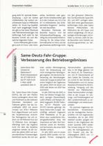 SAME Deutz-Fahr-Gruppe: Verbesserung des Betriebsergebnisses