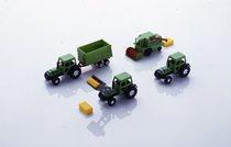 [Deutz-Fahr] modellini trattori Agrostar 6.11 con rimorchio, Agrostar 6.31 con pala caricatrice, Agrostar 6.31 e mietitrebbia M36
