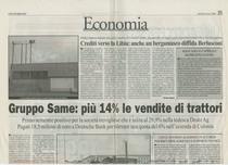 Gruppo SAME: più 14 % le vendite di trattori