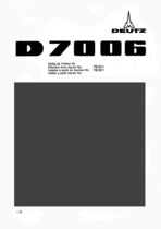 D 7006 - Ersatzteil-Nummerliste / Spare Parts - Nos. List / Liste de Repéres Numerique de Rechange / Lista de Nos. De Repuestos