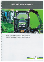 AGROFARM 420-430 PROFILINE - Use and Maintenance