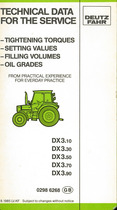 DX 3.10-3.30-3.50-3.70-3.90 / Techical data for the service / tightening torques / setting values / filling volumes / oil grades