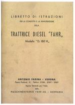 TRATTRICE DIESEL D 180 H - Libretto Uso e Manutenzione