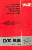 DX 86 - Ersatzteilliste / Spare parts book / Liste de pièces de rechange / Lista de repuestos