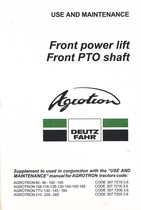 FRONT POWER LIFT AND FRONT PTO SHAFT FOR AGROTRON - Use and maintenance