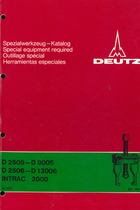 D 2505 - D 9005 - D 2506 - D 13006 - INTRAC 2000 - Spezialwerkzeug-Katalog / Special equipment required / Outillage spécial / Herramientas especiales