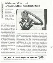 "Hurlimann XT jetzt mit ""Power Shuttle""-Wendeschaltung"