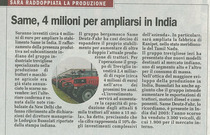 SAME, 4 milioni per ampliarsi in India