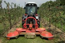 [Deutz-Fahr] trattore Agroplus 90 S al lavoro con falciatrice in un meleto