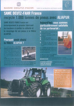 Same Deutz - Fahr France recycle 1.000 tonees de pneus avec Aliapur