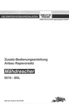 ANBAU RAPSVORTSATZ MÄHDRESCHER 5510 - 8 XL - Zusatz-Bedienungsanleitung