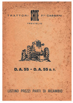 Trattori Same F.lli Cassani, Treviglio: listino prezzi parti di ricambio DA 55-DA 55 DT