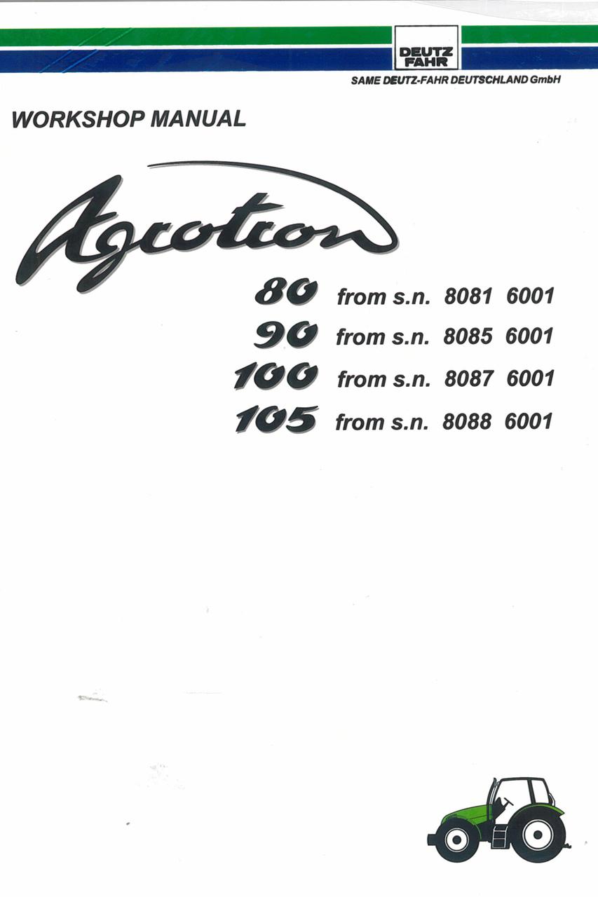 AGROTRON 80 from s.n. 8081 6001 - AGROTRON 90 from s.n. 8085 6001 - AGROTRON  100